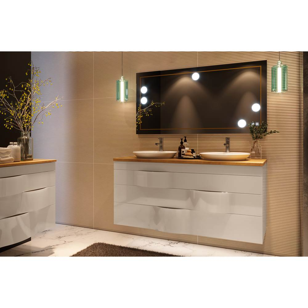 Decotec DT-ILLUSION - Double Basin Unit H65 - W140, 3 drawers  - Worktop with ceramyl half recessed basins  - Wood veneer