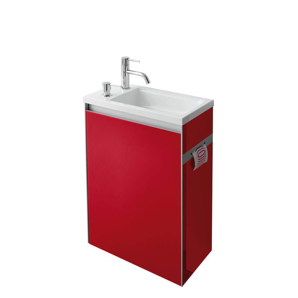Decotec DT-SMARTY - Handwash basin unit - with soap dispenser - Left hinging-Painted Glass / Left hinging