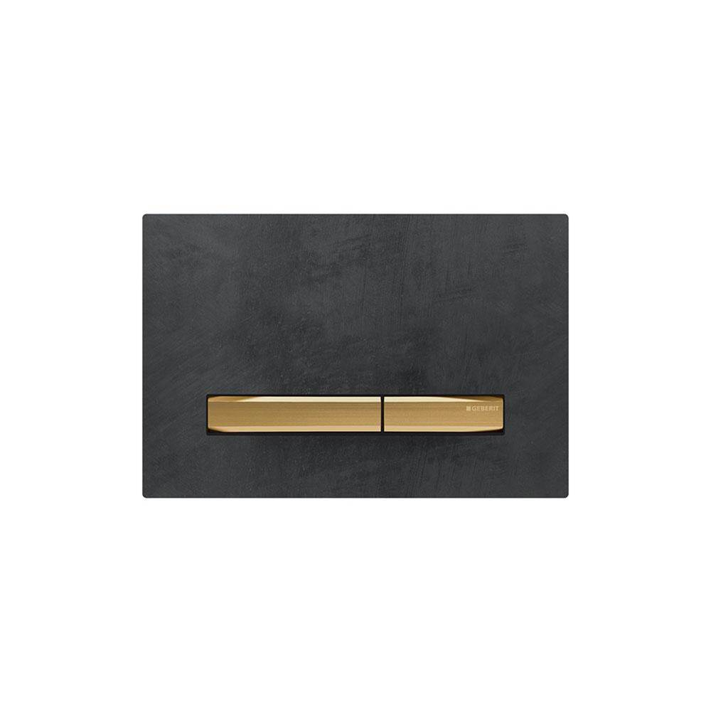 Geberit Geberit actuator plate Sigma50 for dual flush, metal colour brass: brass, Mustang slate
