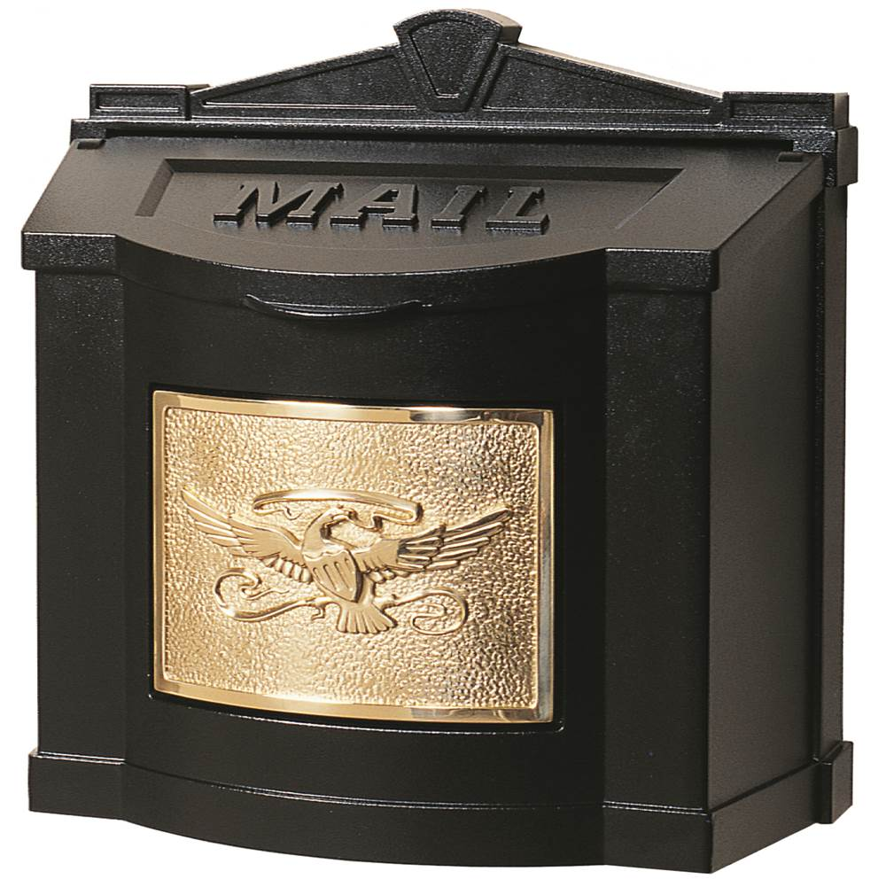 Gaines Manufacturing Wallmount Mailbox Eagle Design Black w/ Polished Brass Eagle