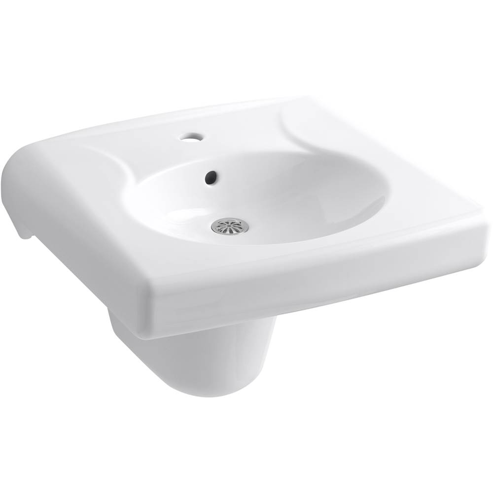 Kohler Brenham™ wall-mounted or concealed carrier arm mounted commercial bathroom sink with single faucet hole and shroud, antimicrobial finish
