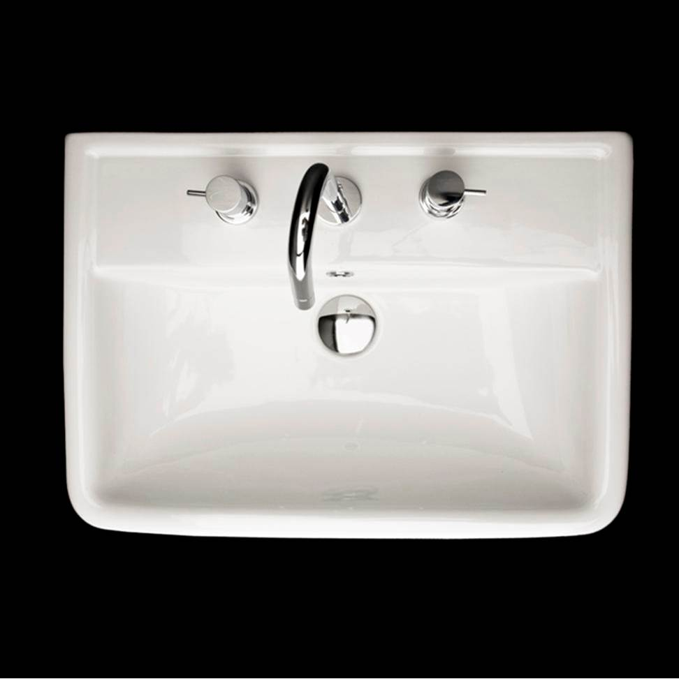 Lacava Wall-mount porcelain Bathroom Sink with an overflow, 23 5/8''W, 16 1/2''D, 6 3/4''H. one faucet holes.