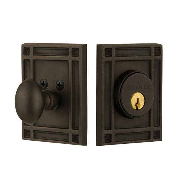 Nostalgic Warehouse Nostalgic Warehouse Mission Plate Single Cylinder Deadbolt in Oil-Rubbed Bronze